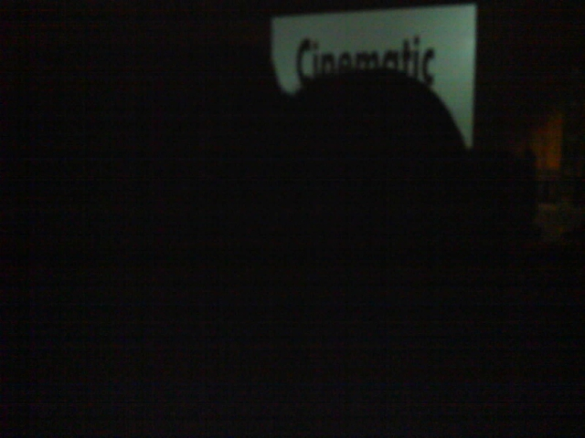 "Shaun's view of the screen, after the ""woman with the giant head"" sat down in front of us. One of the many reasons why the theater-going experience can be tricky."