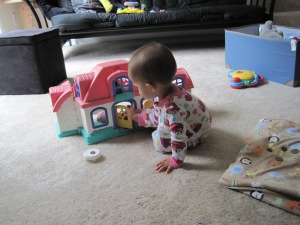 Trying to get into the dollhouse.