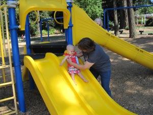 Summer 2012 - 10 months - needs a little help down the slide.