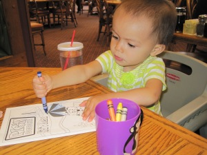 Coloring at the Pig 'n Pancake