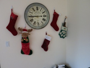The stockings were hung by the French decor clock with care