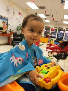 Sonja's first haircut.