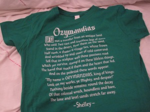 The poem that inspired the episode, preserved on a t-shirt