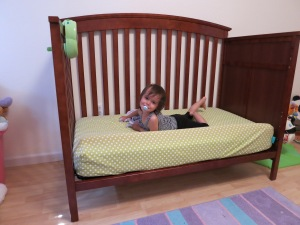 The convertible crib, soon to be replaced with a regular toddler bed.