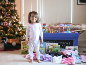 I make her pose with her gifts every year.