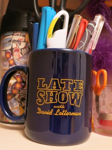 "My ""Late Show"" mug, the same kind that was on Dave's desk."