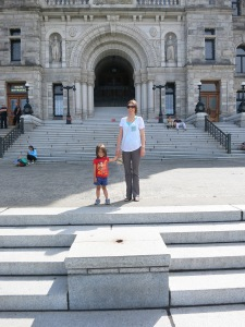 In front of the parliament buildings.