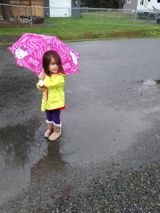 Playing in muddy puddles.