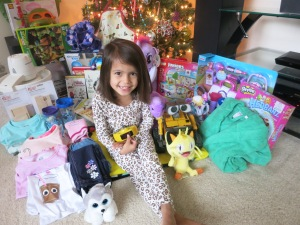 The yearly picture with all of her gifts.